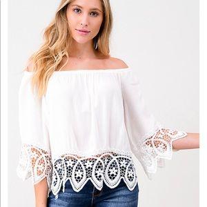 Montrez ivory white 3/4 sleeves lace trim top